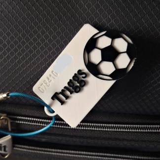 Football themed luggage tag in White