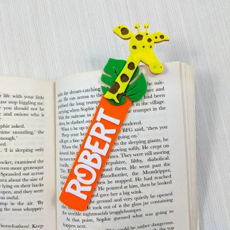 Giraffe themed Bookmark in Orange