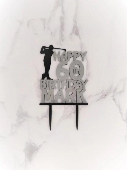 Golf Cake Topper, Personalised Golf Cake Topper, Bespoke Golf Personalised Cake Topper, Golf Birthday, Milestone Birthday, Golfer Theme 1
