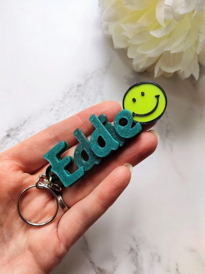 Personalised happy keyring, Personalized smiley keychain, small personalised gift, book bag tag, party bag filler, name tag, boy girl 1