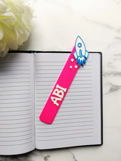 Personalised Rocket bookmark, Birthday gift, stocking filler, Kids gift, Small present, personalized book marker, party favour 1