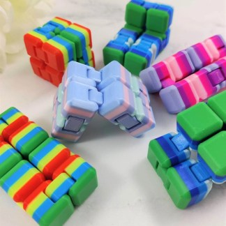 Multi-coloured fidget cubes