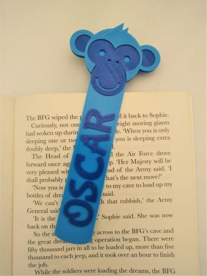 Monkey themed bookmark in blue