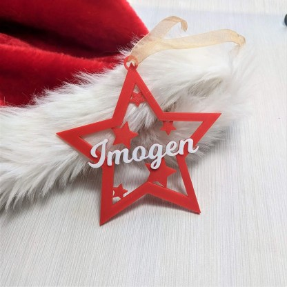 Star Christmas decoration in red and white