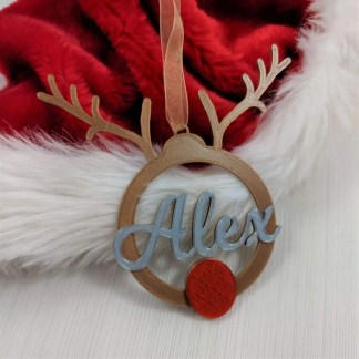 Personalised christmas tree decoration - reindeer antlers