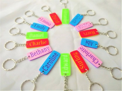 Personalised keyrings - various colours