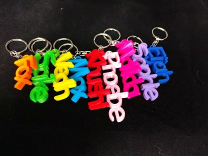 Personalised keyrings in various colours