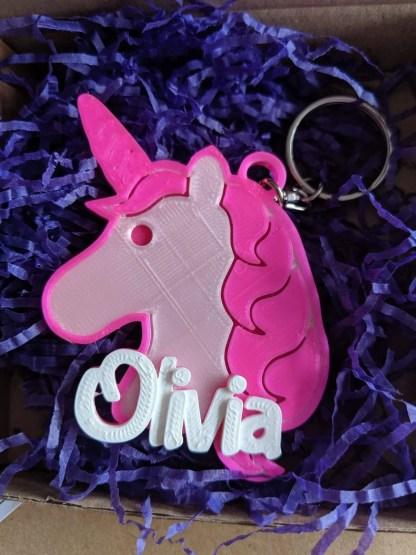 Unicorn personalised keyring
