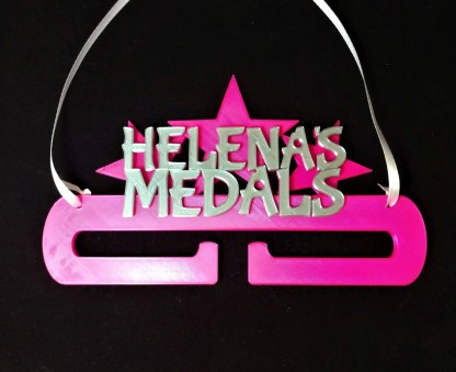 Personalised Medal holder - bright pink and silver