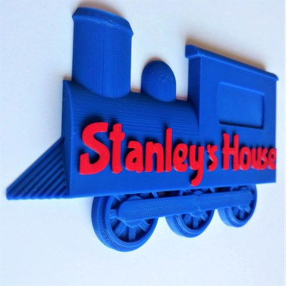 Train door sign in Blue and Red