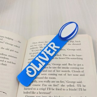 Rugby bookmark with name