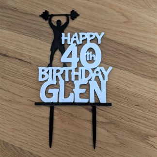 Weightlifting themed cake topper