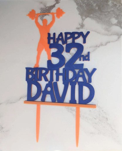 Happy 32nd Birthday David cake topper