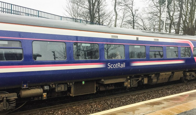 ScotRail train at Dalgety Bay Station about to depart for Kirkcaldy