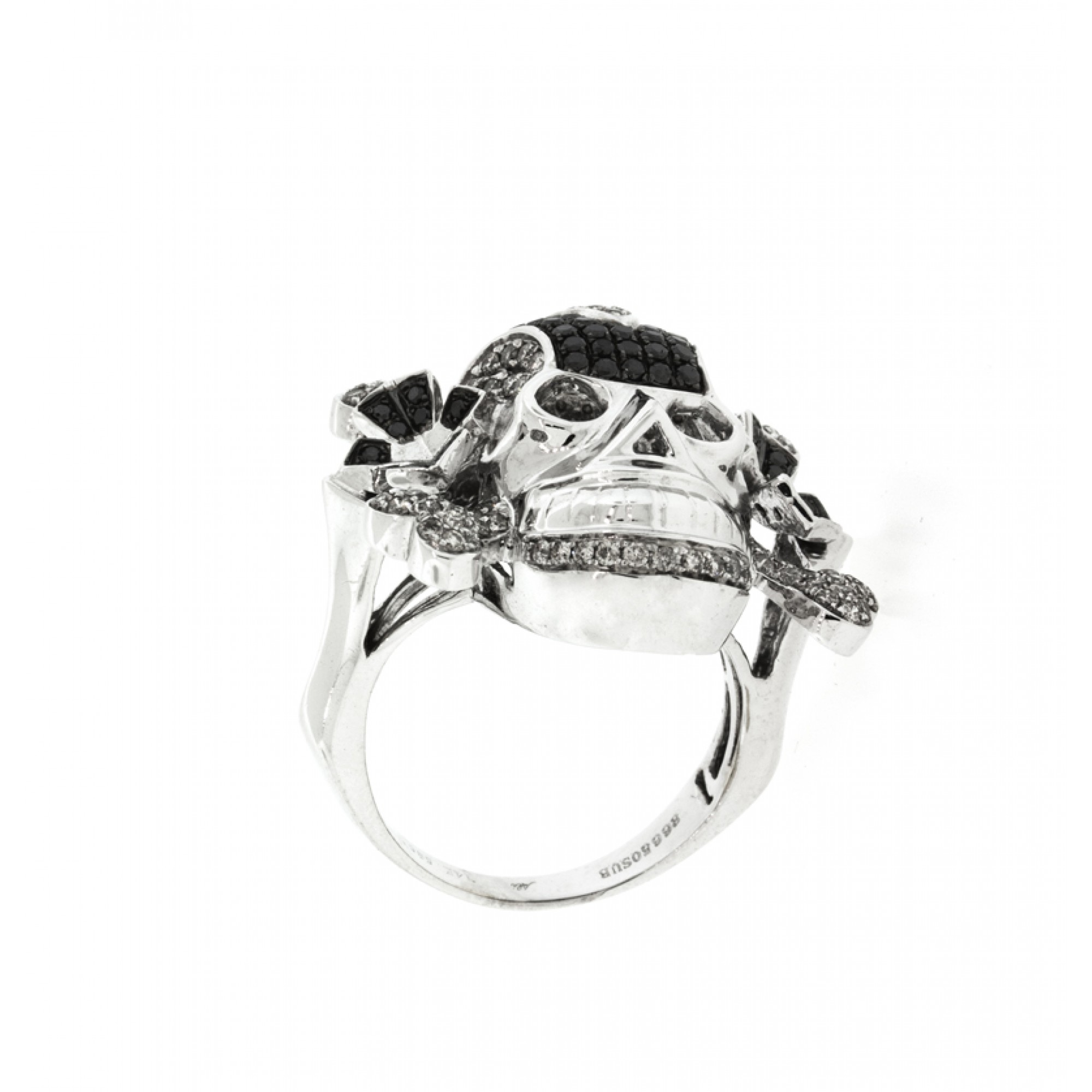 Men's Black and White Diamonds Skull Ring,Cheap Diamond