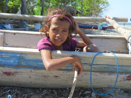 Atauro girl in fishing boat Timor-Leste