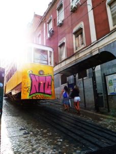 A tram with graffiti in Lisbon
