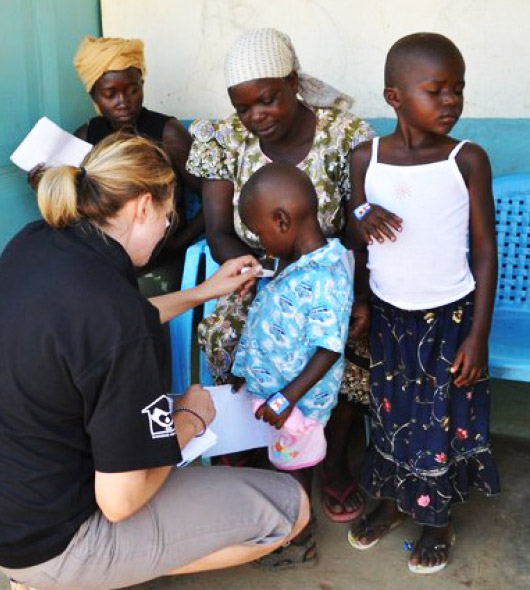 Dalice working at a medical clinic in Kenya in January 2011
