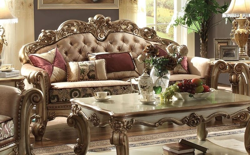 Acme 53010 Vendome Formal Living Room Set In Gold