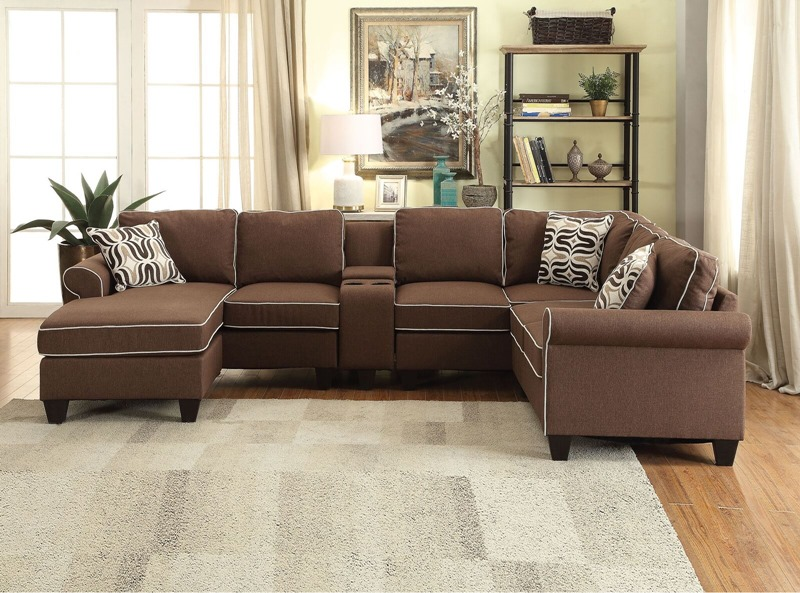 acme sectional sofa chocolate modern living room l shaped 54250 kelliava with chaise in