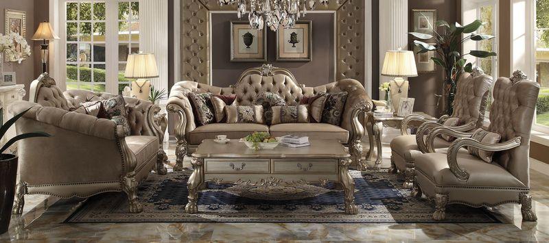 living room furniture dallas tx decor with leather sofas acme 52090 dresden formal set in bone velvet