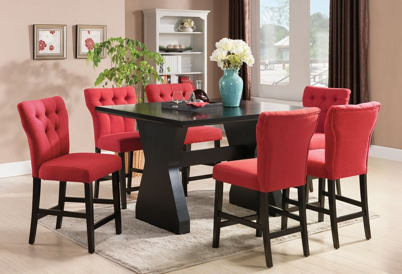 red counter height dining chairs party table and chair rentals acme 71520 71525 effie room set in