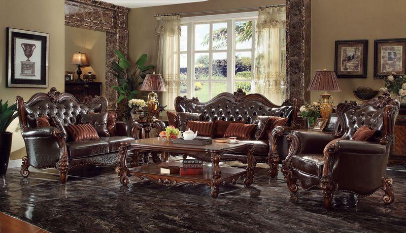 formal living room set window coverings for acme 52120 versailles in dark brown