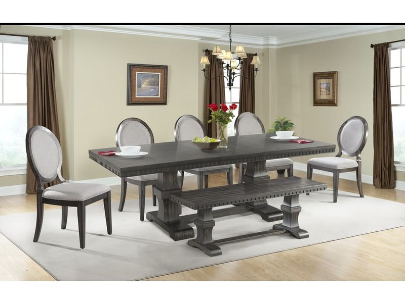 fabric side chairs and ottomans elements dmo110bn morrison dining room set with bench