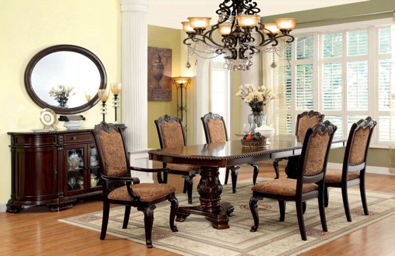 upholstered chairs for dining room high chair that turns into a furniture of america cm3319t bellagio formal set with fabric