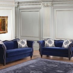 Blue Living Room Sets Chair With Good Lumbar Support Furniture Of America Sm2231 Zaffiro Set In