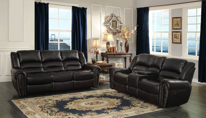 reclining leather living room furniture sets american sectionals homelegance 9668blk 3 center hill set in black