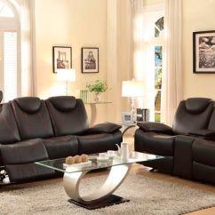 Reclining Leather Living Room Furniture Sets Arrangement Designs Homelegance 8524bk 3 Talbot Set In Black