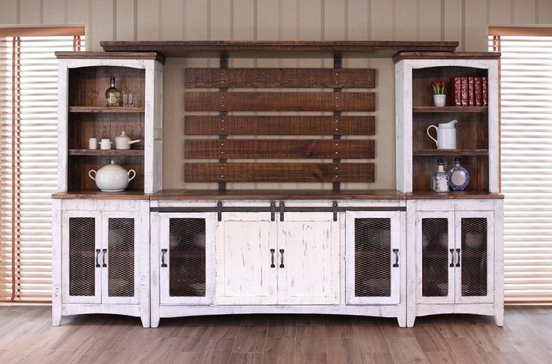 2 piece living room set wooden sofa designs ifd furniture   360 pueblo white rustic entertainment ...