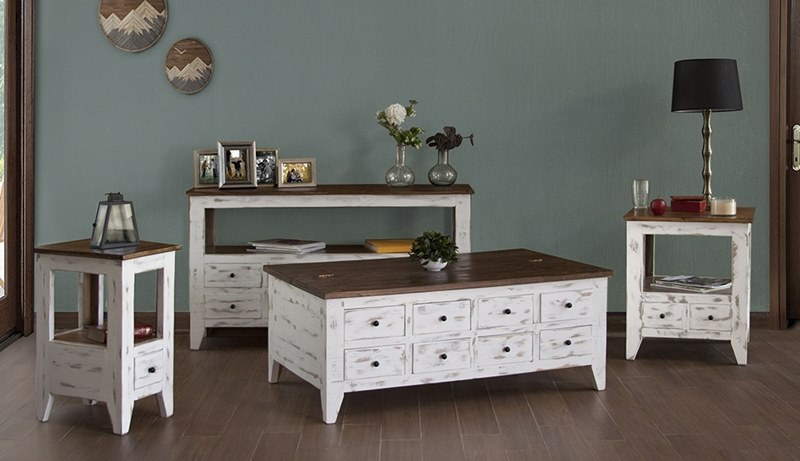ifd furniture 960 antique multi drawer rustic coffee table set in white dallas designer furniture