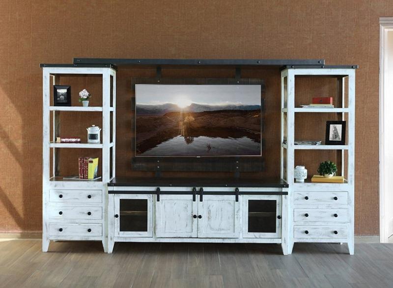 IFD Furniture  960 Antique White Rustic Entertainment