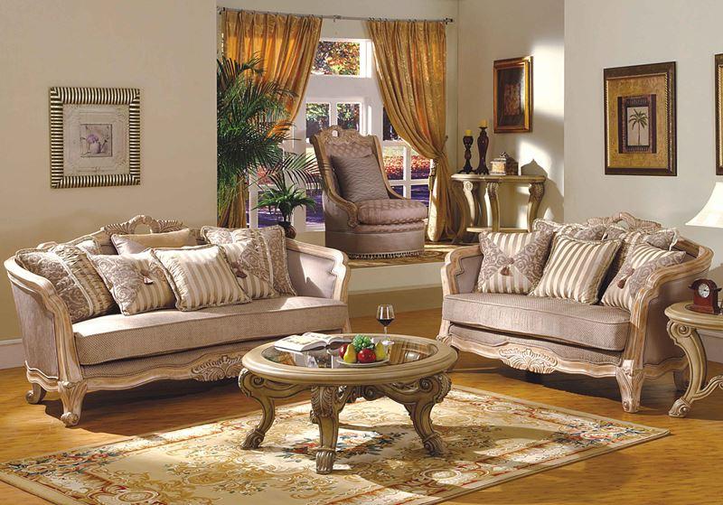 Leander Formal Living Room Set in Antique White Wash