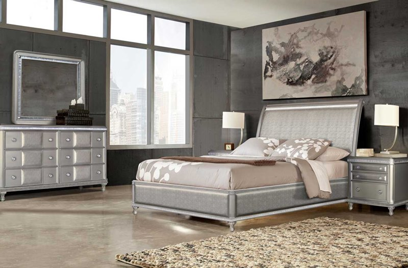 Steve Silver  RE306SS Midtown Bedroom Set in Platinum Bling  Dallas Designer Furniture