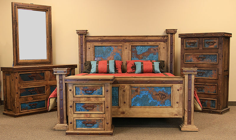 LMT  Turquoise Copper Panel Rustic Bedroom Set  Dallas Designer Furniture