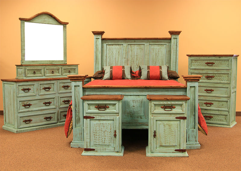 Dallas Designer Furniture  Turquoise Washed Rustic