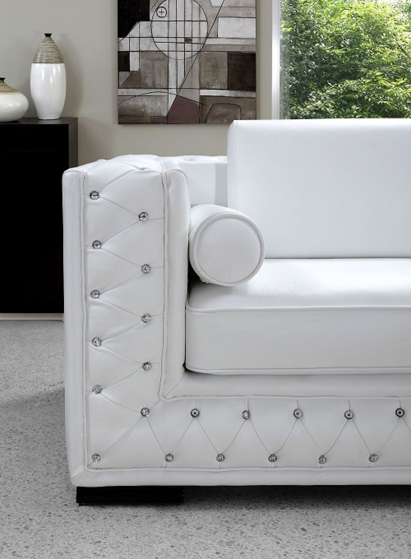 white tufted leather sofa burnt orange sectional vig | vg2t0697-w divani casa dublin crystal modern ...