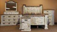 Dallas Designer Furniture | White Washed Rustic Bedroom Set