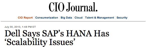 Dell tells WSJ SAP HANA has scalability issues