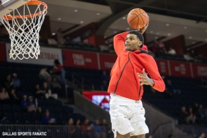 An SMU Basketball player goes up for a dunk during warmups before the game between SMU and Jacksonville State on November 5, 2019 at Moody Coliseum in Dallas, Tx. (Photo by Joseph Barringhaus/Dallas Sports Fanatics)
