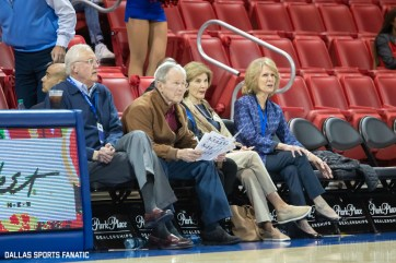 President George W Bush looks to the court before the game between SMU and Jacksonville State on November 5, 2019 at Moody Coliseum in Dallas, Tx. (Photo by Joseph Barringhaus/Dallas Sports Fanatics)