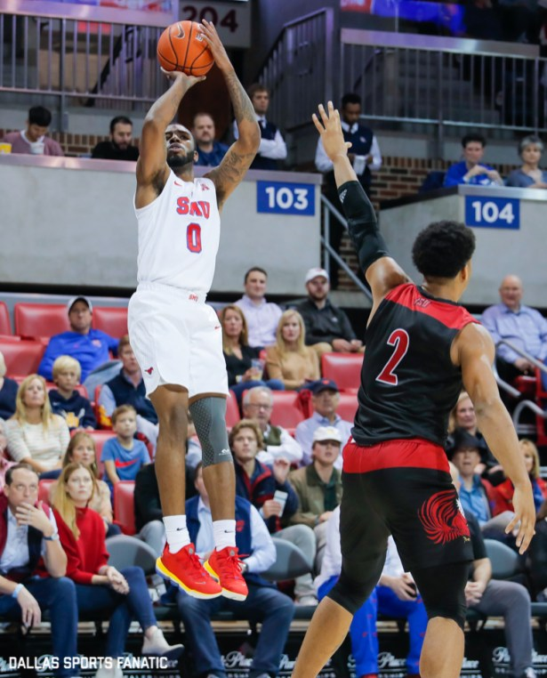 SMU guard Tyson Jolly takes a shot during the game between SMU and Jacksonville State on November 5, 2019 at Moody Coliseum in Dallas, Tx. (Photo by Joseph Barringhaus/Dallas Sports Fanatics)