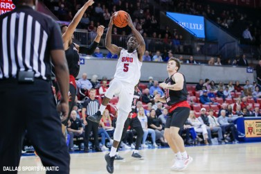 SMU guard Emmanuel Bandoumel drives the basket during the game between SMU and Jacksonville State on November 5, 2019 at Moody Coliseum in Dallas, Tx. (Photo by Joseph Barringhaus/Dallas Sports Fanatics)