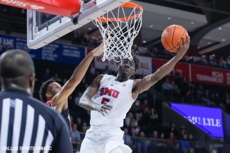 SMU guard Emmanuel Bandoumel goes up for a basket during the game between SMU and Jacksonville State on November 5, 2019 at Moody Coliseum in Dallas, Tx. (Photo by Joseph Barringhaus/Dallas Sports Fanatics)
