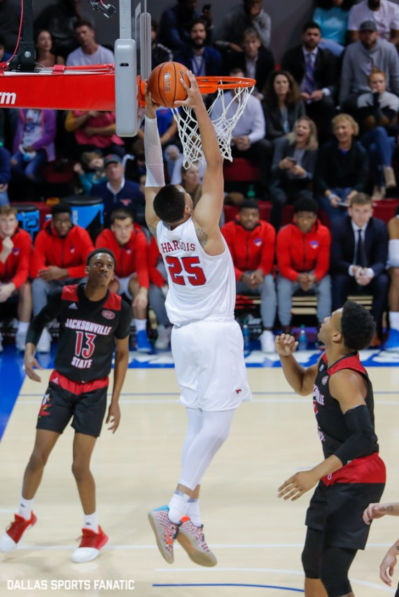 SMU forward Ethan Chargois reaches up for a dunk during the game between SMU and Jacksonville State on November 5, 2019 at Moody Coliseum in Dallas, Tx. (Photo by Joseph Barringhaus/Dallas Sports Fanatics)