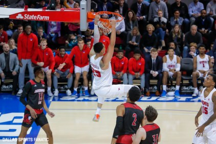 SMU forward Ethan Chargois dunks during the game between SMU and Jacksonville State on November 5, 2019 at Moody Coliseum in Dallas, Tx. (Photo by Joseph Barringhaus/Dallas Sports Fanatics)