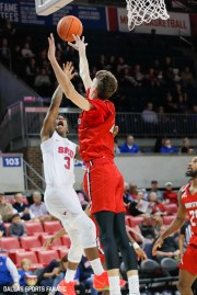 SMU guard Kendric Davis takes a layup during the game between Southern Methodist University and Hartford on November 27, 2019 at Moody Coliseum in Dallas, Tx. (Photo by Joseph Barringhaus/Dallas Sports Fanatics)